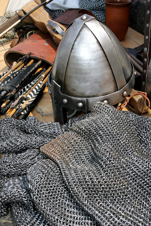 Helmet and chain mail