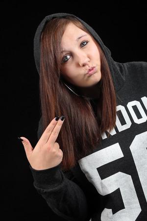 teeny: Teenager in hoodie