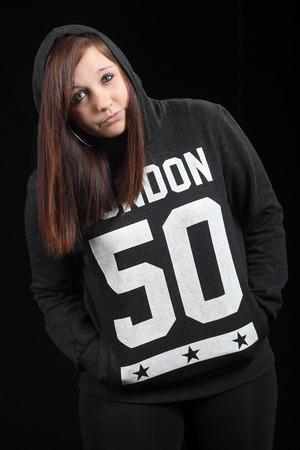 teeny: Girl in hoodie