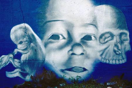 life and death: Birth, Life, Death Graffiti Stock Photo