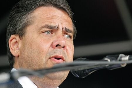 gabriel: Sigmar Gabriel giving speech Editorial