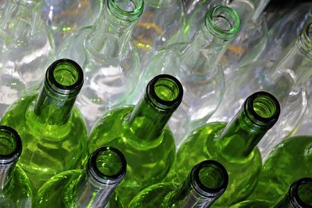 bottlenecks: Empty wine bottles Stock Photo