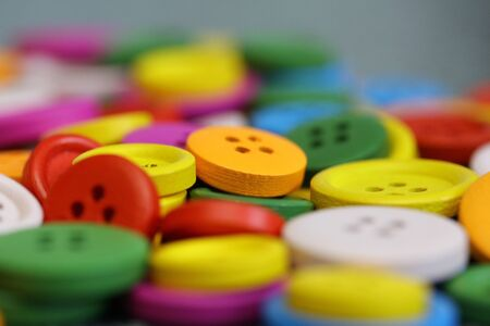 Colorful buttons close up