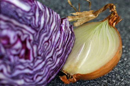 sliced onion and red cabbage