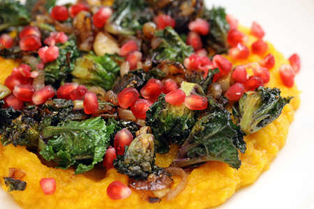 fried kalettes on pumpkin puree