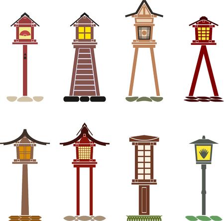 Set of traditional Japanese lanterns toro made of wood