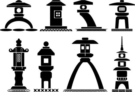 Set of icons of traditional Japanese lanterns toro made of stone Illustration