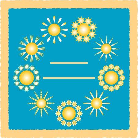 ビンテージ グリーティング カード。空に太陽はベクトル イラストです。