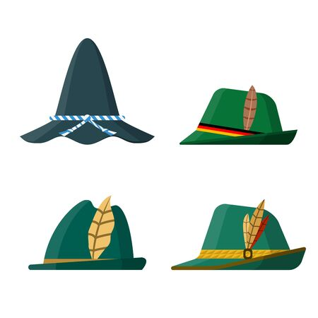 Set of flat design traditional green hats on white background. Side view. Vector illustration.