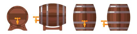 Set of wooden barrels isolated on white background. Barrels for storage of alcoholic beverages. Front and side view. Flat style vector illustration.