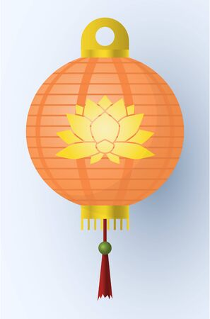 Traditional asian decorative hanging paper lantern. Colorful oriental lantern isolated on light background. Vector illustration.