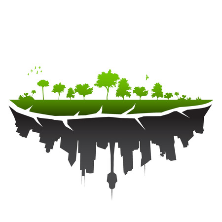 sostenibilit�: Broken pianeta illustrazione - vettore Vettoriali
