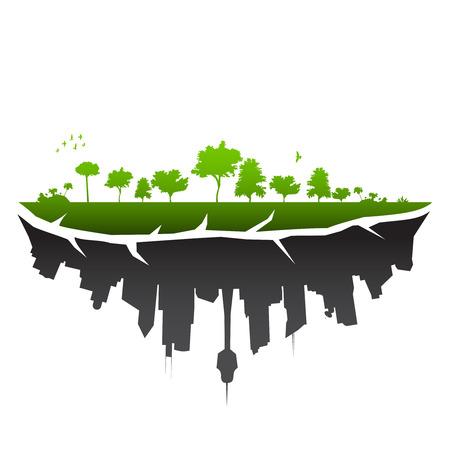 sustain: Broken planet illustration - vector