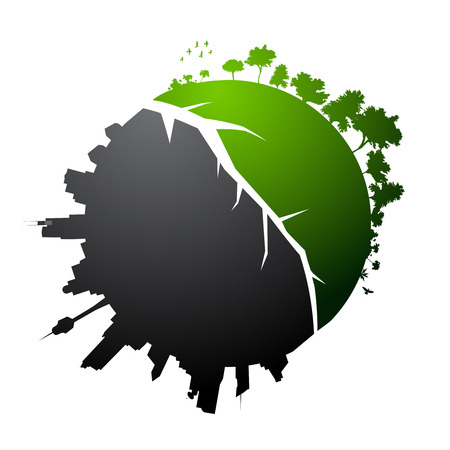 sustain: Broken planet illustration - vector