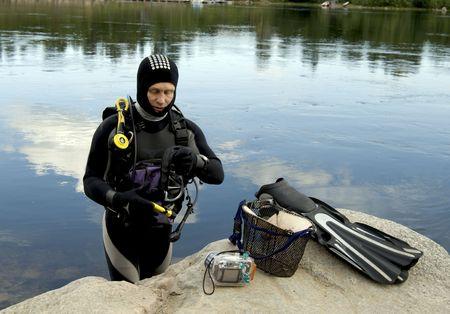 Diving in scandinavia Stock Photo
