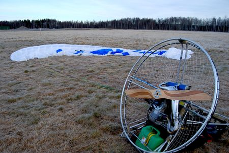 Paramotor ready to fly in autumn
