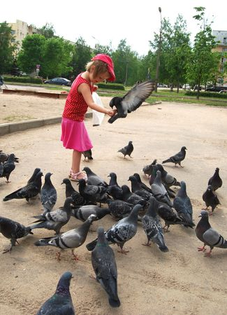 Girl and birds