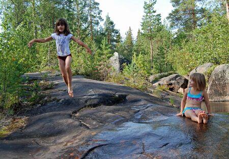 girl on the nature Standard-Bild