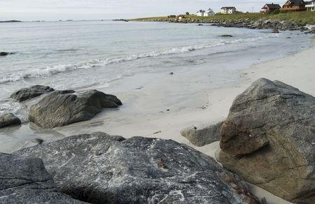 happieness: Typical wiev in Lofoten, Norwegian beach