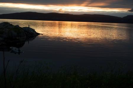 Fishing in Norway Lofoten fjord photo