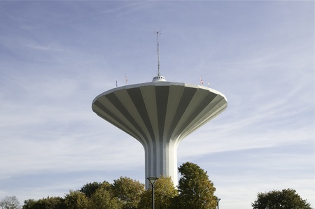 The water tower Svampen from below in Örebro, Sweden.