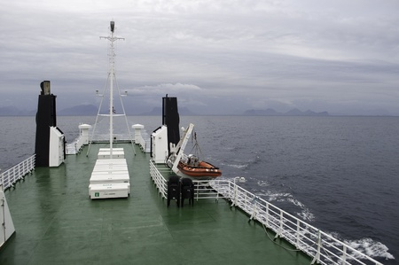 Boat going to Lofoten photo