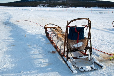 traditional  Sami national sledge on ice hotel, Sweden photo