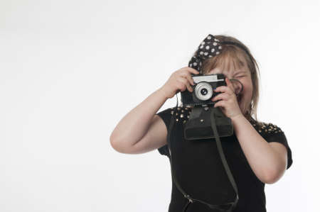photocamera: Little girl with old  russian photocamera