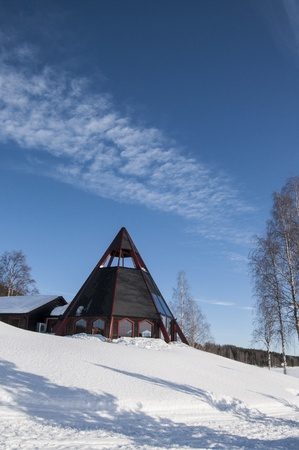 Modern church in the north of Sweden in winter