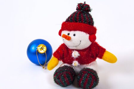 Christmas docoration with  snowman on whight background photo