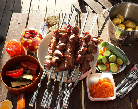 BBQ ready meet  with vegetablesin summer