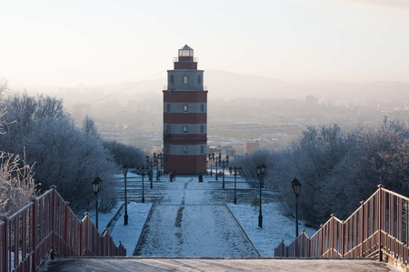 Murmansk, church to submarine Kursk in winter