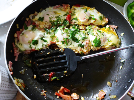 breackfast: ready breakfast eggs with vegetables