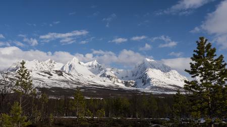 Mountains in Norway fjord, Tromsö Stock Photo