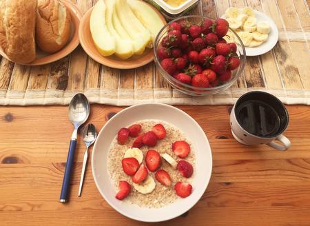 healthy Breakfast on the summer veranda