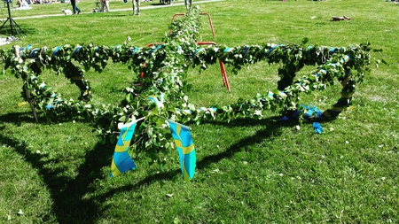 midsummer pole: Celebration of most favorite summer day midsommar in Sweden Stock Photo