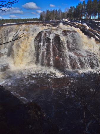 Jockfall, waterfall in the north of Sweden Stock Photo