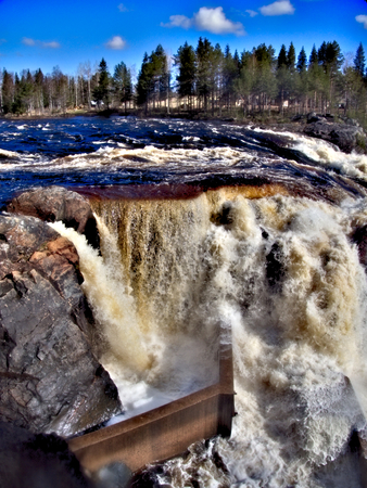 Jockfall, waterfall in the north of Sweden Stock Photo