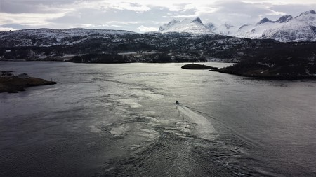 Saltstraumen tidal stream view, the most dramatic view in winter