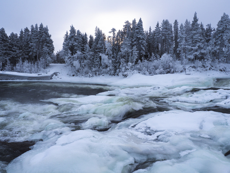 Winter waterfall Storforsen in Sweden