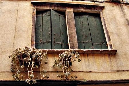 Old fashion two beautiful Windows of Venedig Stock Photo