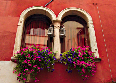 Old fashion two beautiful Windows of Venedig Stock Photo