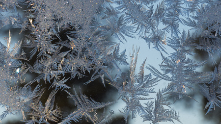 Christmas background, frozen witdow, Art of Frost.