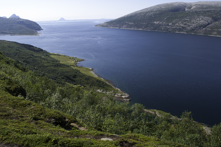 Blue fjord view, journey in Nord Norway Imagens