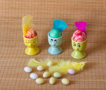 Perfect colorful handmade easter eggs on wooden background