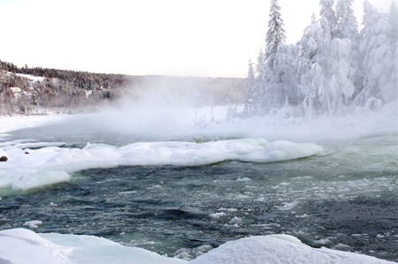 Winter river in the north of Scandinavia