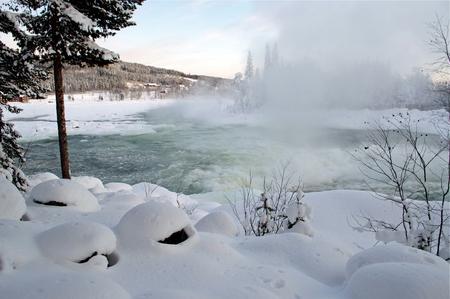 river in scandinavia in winter
