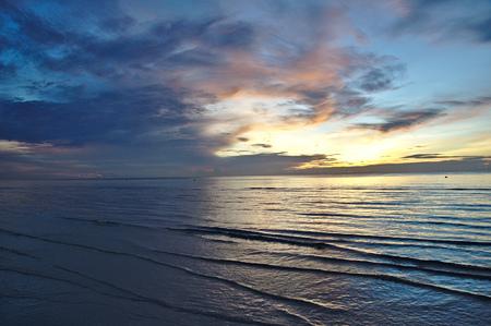 Golden hour in Thailand, magic sunrise in Huahin Фото со стока
