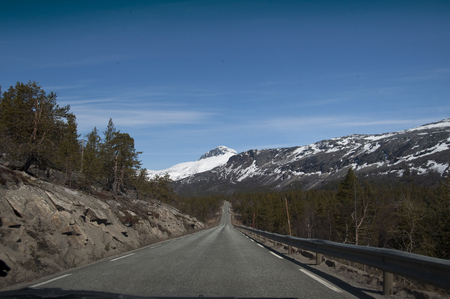 Norway mountains road view in spring