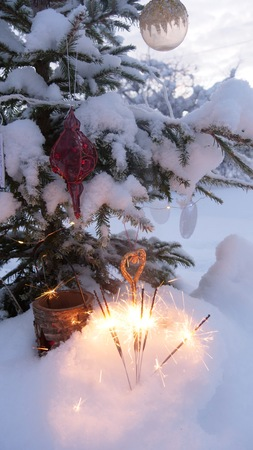 A snow covered natural spruce Christmas tree with illuminated colorful lights outdoors in an old aged wine barrel during a snowfall in the forest. Winter season. Stock Photo